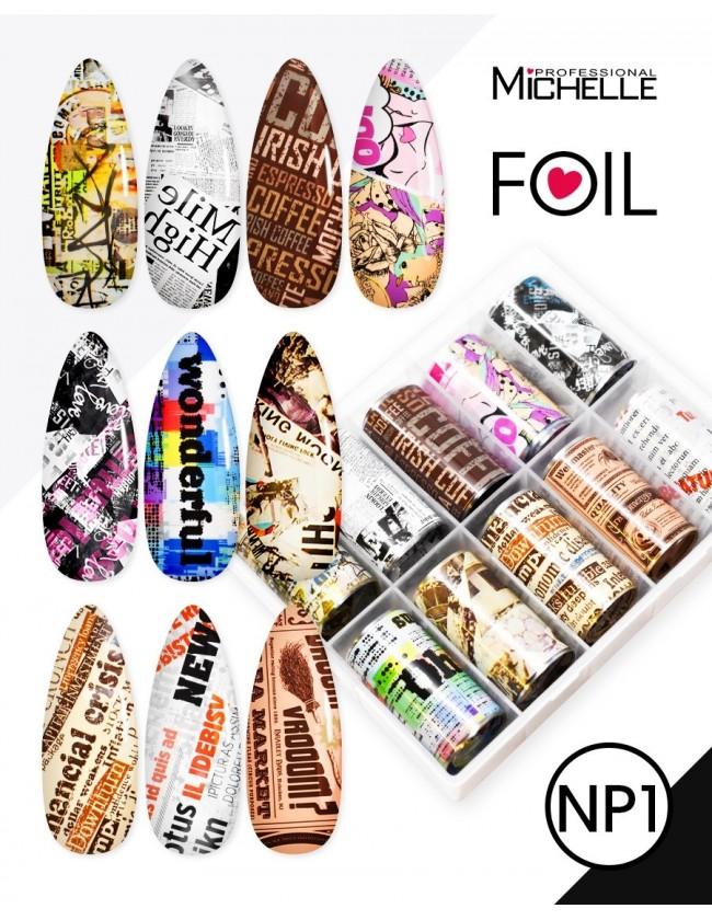 Nail art e decorazioni per unghie: Transfer Foil NP1 Newspaper FOIL- DECORAZIONI- FILI