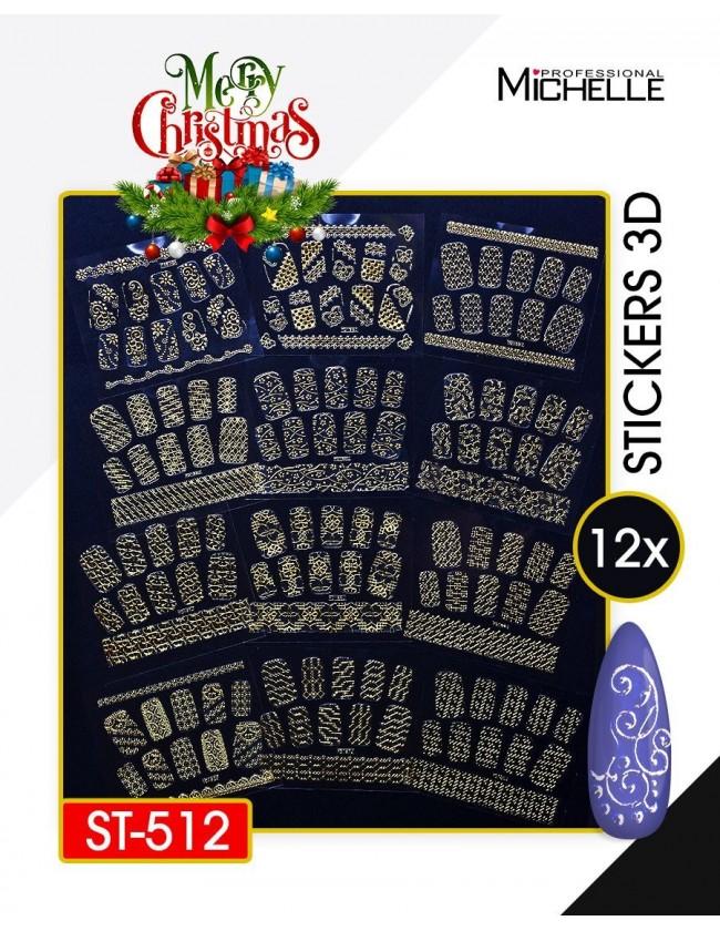 Nail art e decorazioni per unghie: SET 12 ADESIVI STICKERS NATALE ORO 3D - ST512 ADESIVI STICKERS