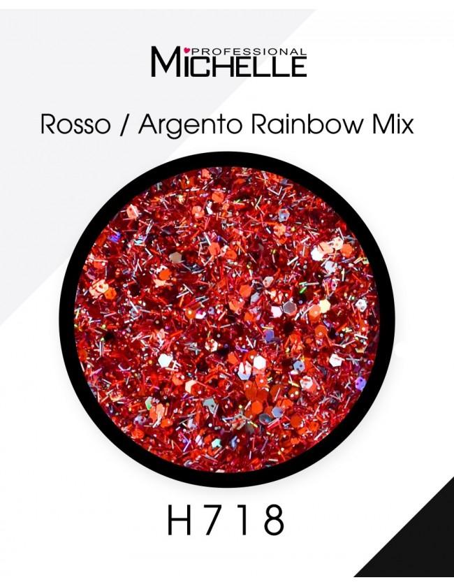 Nail art e decorazioni per unghie: Paillettes Rosso/Argento Rainbow Mix - H718 GLITTER E PAILLETTES