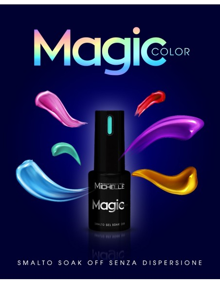 smalto semipermanente colore per unghie Michellenails MAGIC Color Semipermanente - 049 argento microglitter arcobaleno
