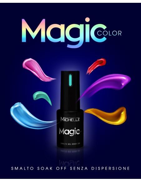 smalto semipermanente colore per unghie Michellenails MAGIC Color Semipermanente - 066 nero glitter argento