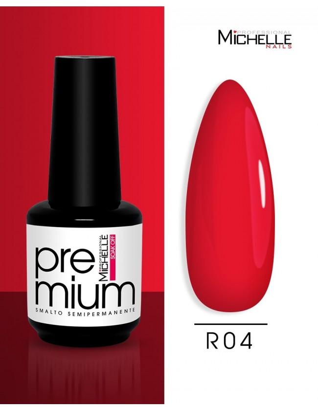 smalto semipermanente colore per unghie Michellenails Premium Smalto Semipermanente R04 - 15ml rosso corallo