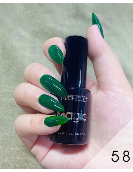 smalto semipermanente colore per unghie Michellenails MAGIC Color Semipermanente - 058 verde scuro