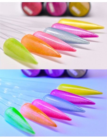 smalto semipermanente colore per unghie Michellenails NUOVI CAT EYE 5D FLUO - 35 Sun FLUO