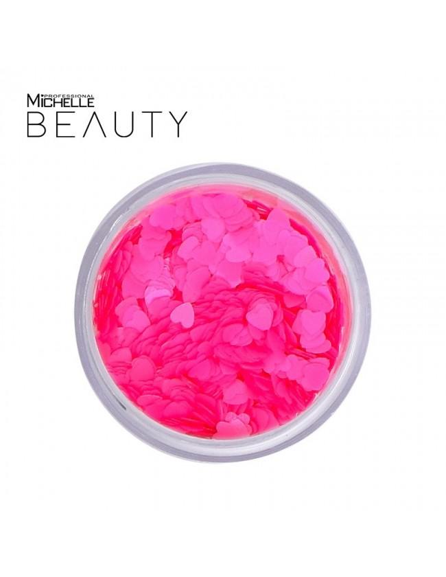 Paillettes Cuori rosa fluo - H033