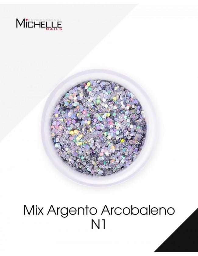 Nail art e decorazioni per unghie: Paillettes mix Argento Arcobaleno - H051 GLITTER E PAILLETTES