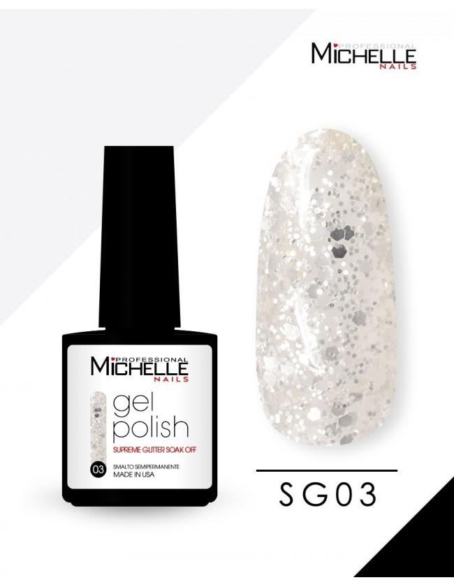 smalto semipermanente colore per unghie Michellenails SUPREME Glitter Gel Soak Off Colour - SG03