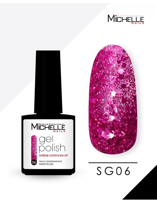 smalto semipermanente colore per unghie Michellenails SUPREME Glitter Gel Soak Off Colour - SG06