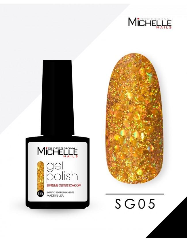 smalto semipermanente colore per unghie Michellenails SUPREME Glitter Gel Soak Off Colour - SG05