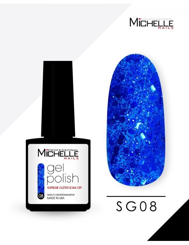 smalto semipermanente colore per unghie Michellenails SUPREME Glitter Gel Soak Off Colour - SG08