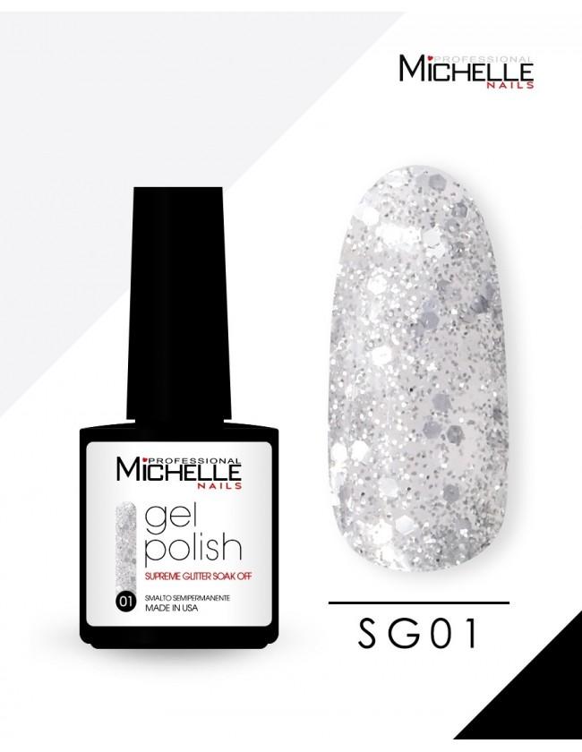 smalto semipermanente colore per unghie Michellenails SUPREME Glitter Gel Soak Off Colour - SG01