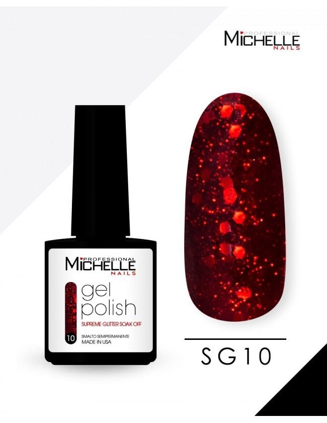smalto semipermanente colore per unghie Michellenails SUPREME Glitter Gel Soak Off Colour - SG10