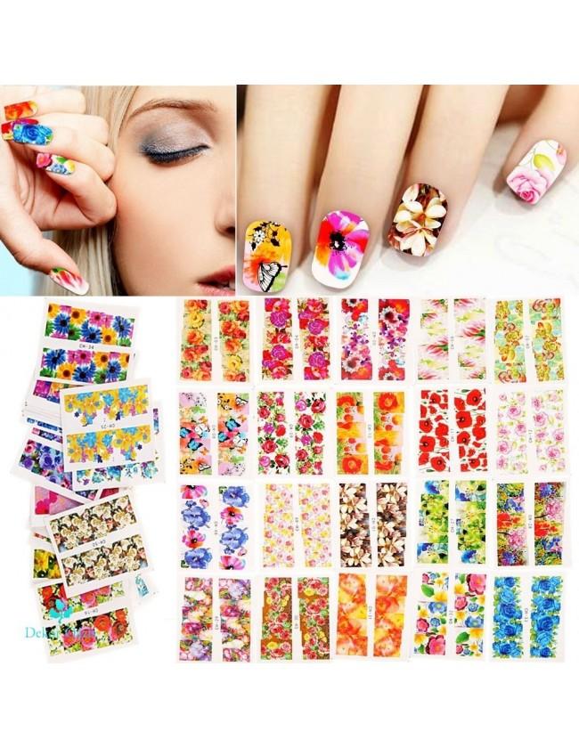 Nail art e decorazioni per unghie: SET 5 STICKERS ASSORTITI T019 ADESIVI STICKERS