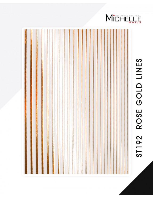 Nail art e decorazioni per unghie: ADESIVI LINEE STICKERS ST192 strisce Rose Gold-Bronzo ADESIVI STICKERS